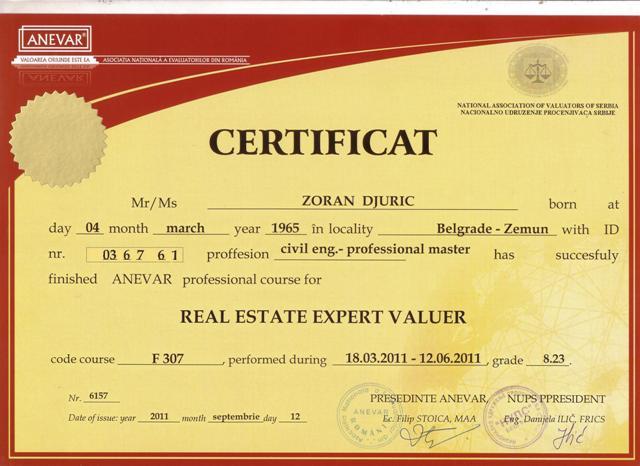 """Medjunarodni sertifikat za procenitelja nepokretnosti priznat od evropskog udruženja """"TEGOVA"""" koji je bitan da pokaže strucnost kod procena nekretnina."""